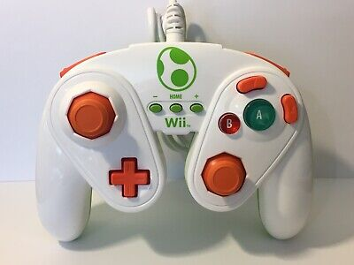 YOSHI FIGHT PAD Nintendo Wii U Wired Controller PDP 085-006 GameCube Tested