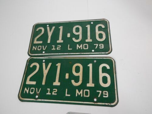 Missouri 1979 License Plate 2Y1- 916 Matching Pair Green