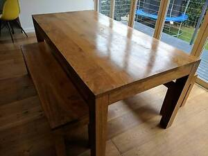 Wood dining table with two bench seats Haberfield Ashfield Area Preview