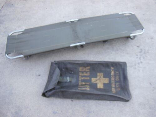 vintage Emergency Folding Stretcher with Storage Bag