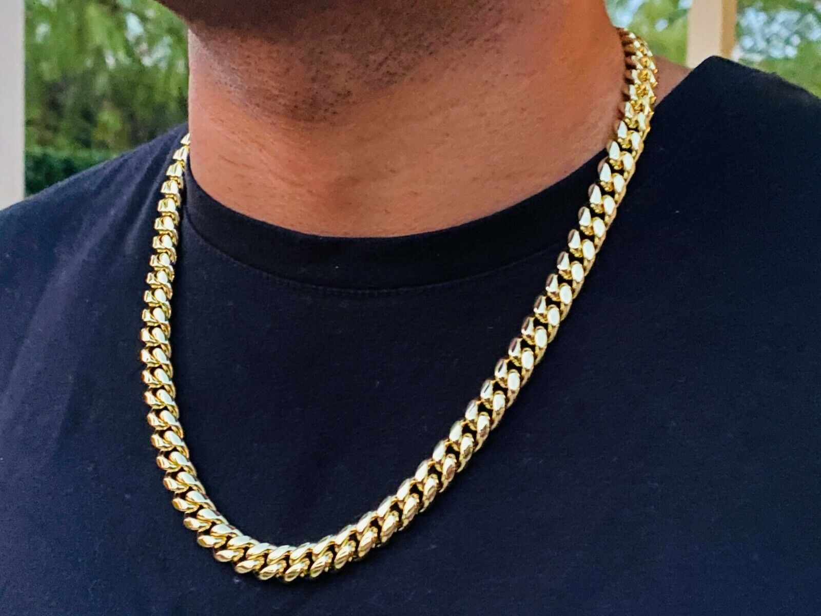 """Mens 14k gold Thick Miami Cuban Link Choker necklace chain Gold Filled 10mm 22"""""""