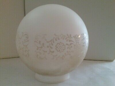 Frosted With Clear Etching Round White Glass Light Globe Shade and Fitter