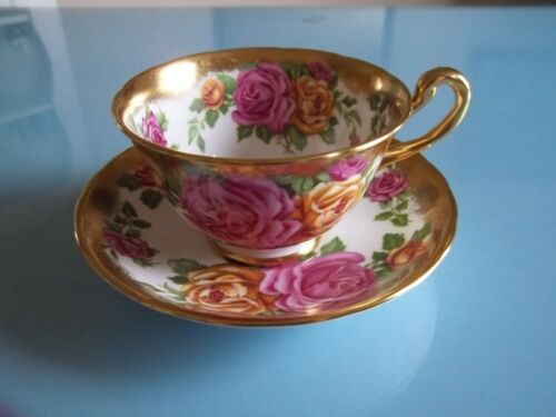 Vtg Rare Grosvenor England PINK/YELLOW ROSES Heavy GOLD TRIM Cup Saucer