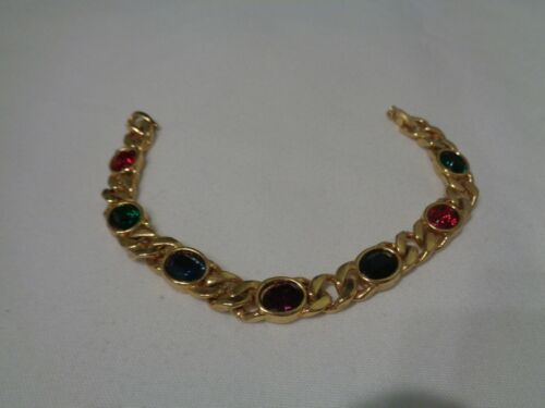 "Vintage Signed Blanca Gold Tone Rhinestone Gem Chain Link Bracelet 7-1/4"" (#3)"