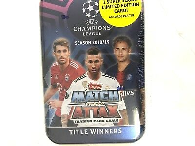 2018/19 TOPPS MATCH ATTAX SOCCER  UEFA TRADING CARD GAME TIN ( TITLE WINNERS )
