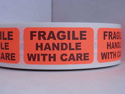 Fragile Handle With Care 1x2 Red Fluorescent Warning Stickers Labels 500rl