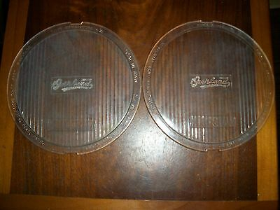 "Pair Old OVERLAND Monogram 1920's Vintage 6-3/4"" HEAD  Light LENS Tilt BEAM"