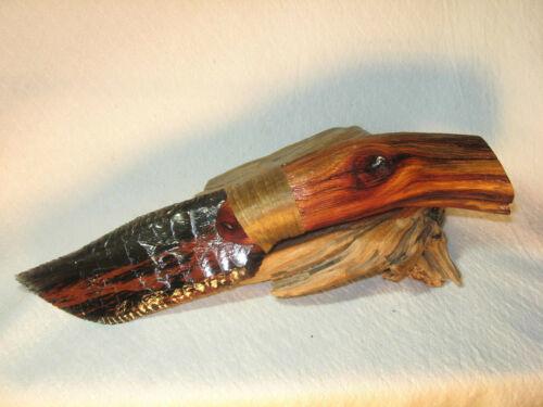Triple Flow Obsidian Bowie Knife w Manzanita Handle Flint Knapping Black Powder