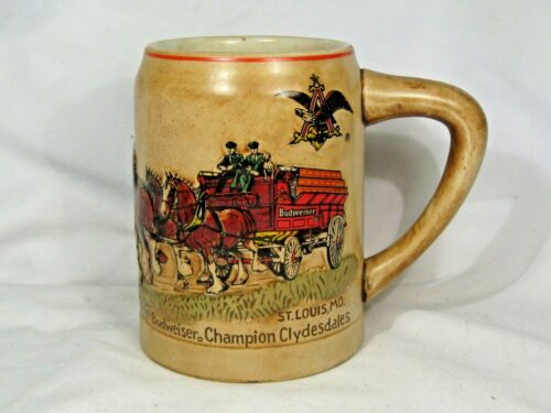 1980 Budweiser Champion Clydesdale Holiday Beer Mug Stein 1st Series Ceramarte.