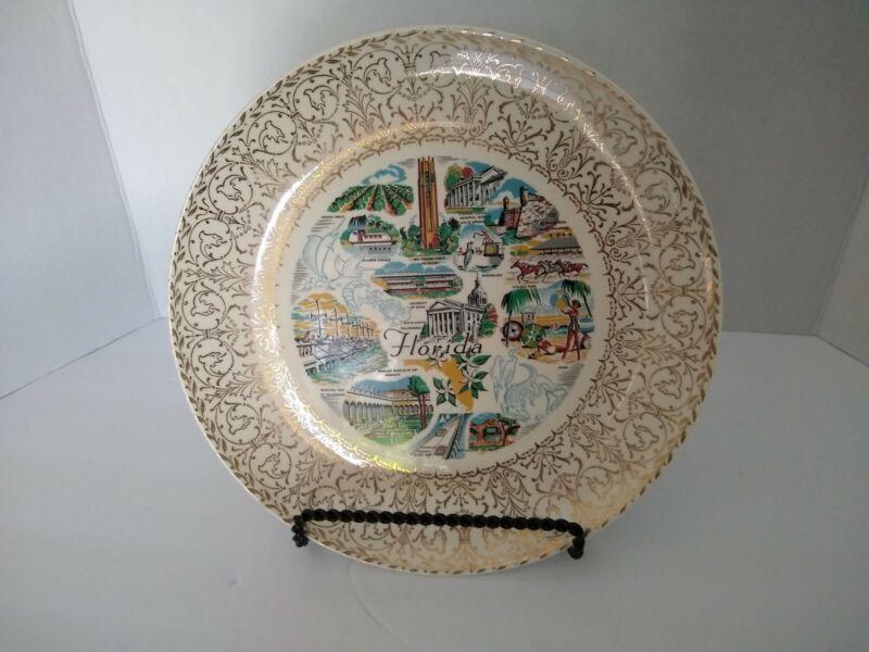 Vintage Florida State Souvenir Ceramic Plate Landmark Homer Laughlin Rhythm USA