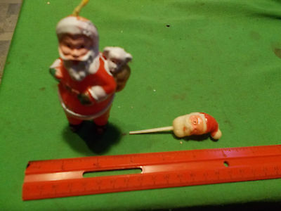 VINTAGE 4 INCH PLASTIC SANTA CHRISTMAS ORNAMENT & SANTA HEAD ON STICK PIN