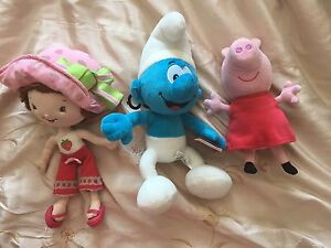 Smurf, strawberry, peppa pig plush dolls. AVAILABLE