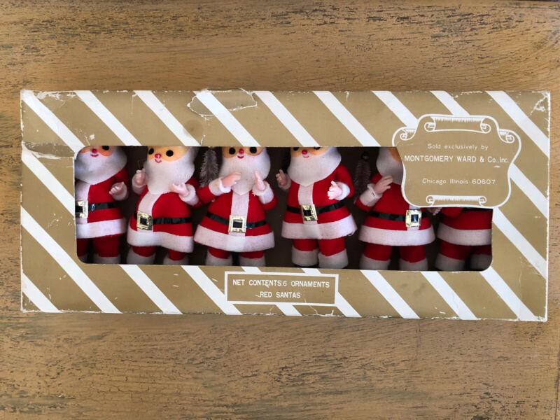 Vintage Montgomery Wards Santa Ornaments Set Of 6 Japan With Box