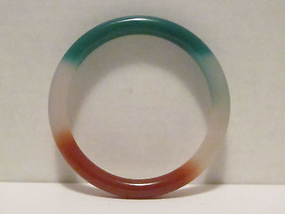 Bangle Bracelet Tri-colored Green,Red,and White,Size 7.85""