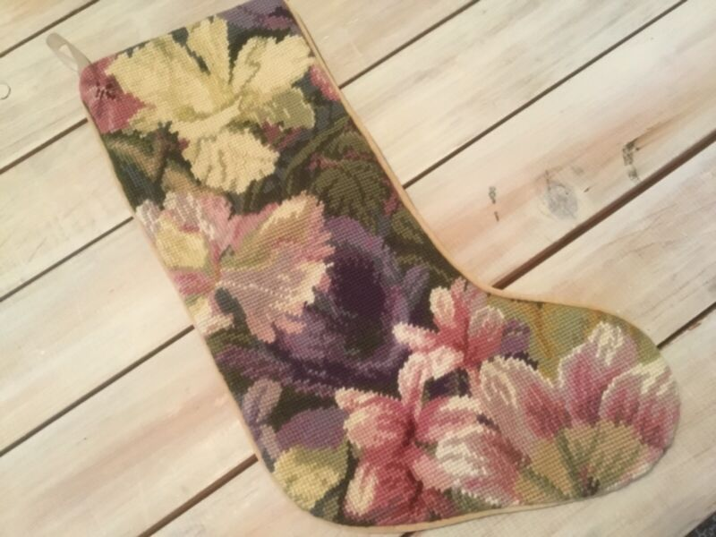 """Vintage pink/purple 18"""" NEEDLEPOINT CHRISTMAS STOCKING flowers~muted soft colors"""