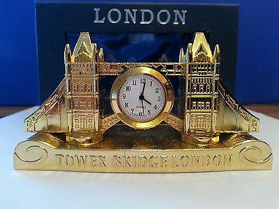 GOLD PLATED METALLIC TOWER BRIDGE LONDON CLOCK SOUVENIR GIFT