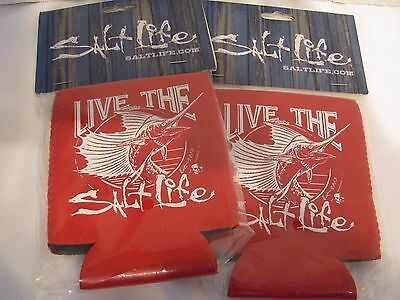 New Salt Life Beer Koozie Can Cooler Can Holster  Red  2 Pack Marlin Theme