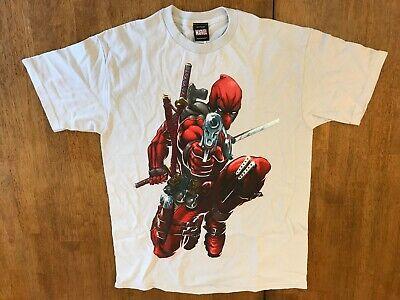 Marvel Deadpool White Shirt Guns and Swords Medium M (Guns And Swords)
