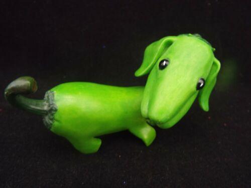 "Enesco  HOME GROWN  Figurine  ---  4""  GREEN PEPPER DACHSHUND"