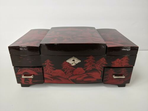 Vintage Japanese Red/Black Lacquer Jewelry Music Box Hand Painted
