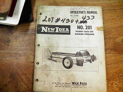 New Idea No. 201 Manure Spreader Operators Manual Wparts List