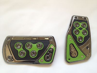 Univarsal Fit Green Racing Style Foot Pedals Pad Covers Automatic Transmission