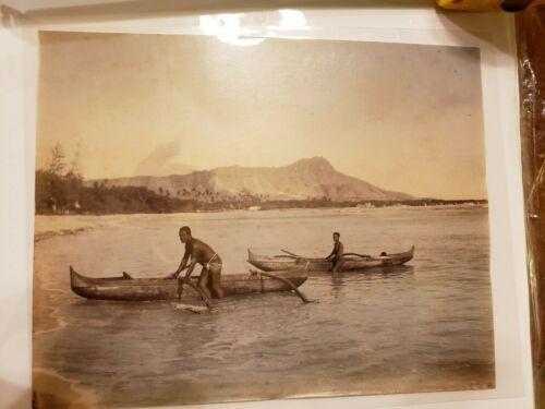 Hawaiian Albumen photo of Canoe in Waikiki 1880 unmounted with tint