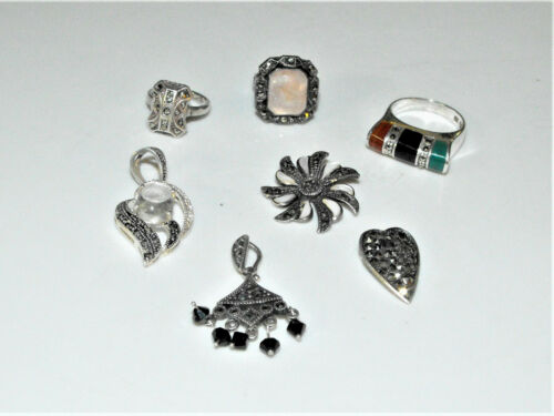 Sterling Silver Marcasite Jewelry Lot Art Deco Rings Necklace Charm Pendants 29g