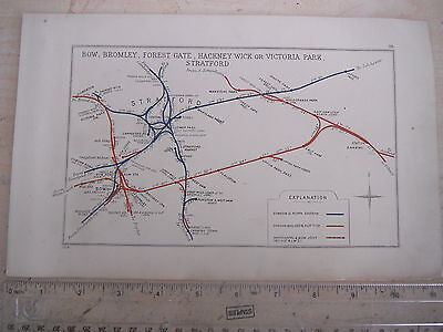 STRATFORD BOW EAST HAM BARKING BROMLEY ILFORD CANNING TOWN RAILWAY MAP 1928 LNER