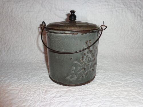 Antique Gray Graniteware Lidded Berry Pail/Bucket