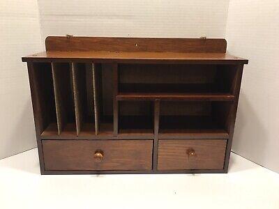 Vintage Wooden Desk Mail Organizer Sorter With 2 Drawers .....desk Caddy