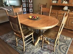 Wooden Dining Table + 6 Chairs + China Cabinet