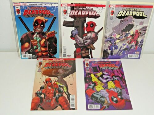Marvel LEGACY Comics DESPICABLE DEADPOOL 5 BOOK LOT # 287-294 CABLE VF/NM 2015