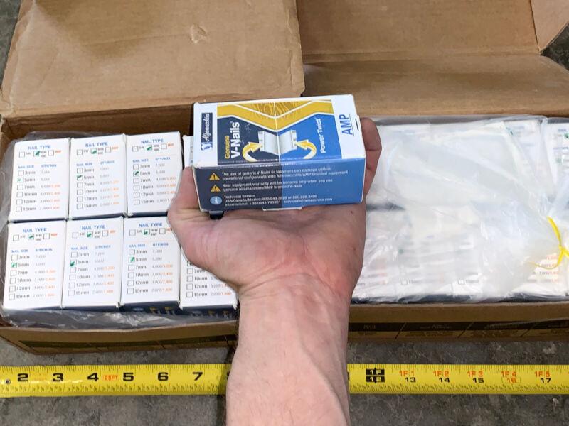 100K QTY! MASSIVE LOT- 5mm AMP Genuine V-Nails Power Twist Frame Corner Wedges