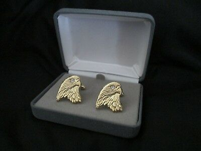 - New w/Case Eagle Head Gold Tone Crystal Rhinestone Eyes Cufflinks