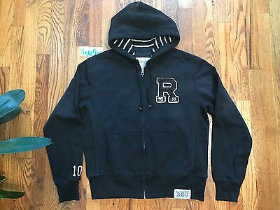RRL Ralph Lauren Mens Rugby Athletic Fleece 323 Letterman Zip Down Hoodie  M