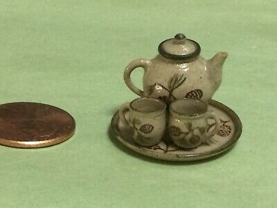 Jane Graber 4 Pc. Pine Cone Tea Set - Stoneware - 1/12 Scale