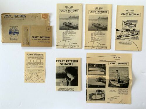 Lot of 4 Vintage Craft Patterns ~ BOATS ~ A. Neely Hall ~ Mail Away Patterns