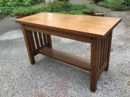 Antique mission arts & crafts table piano bench