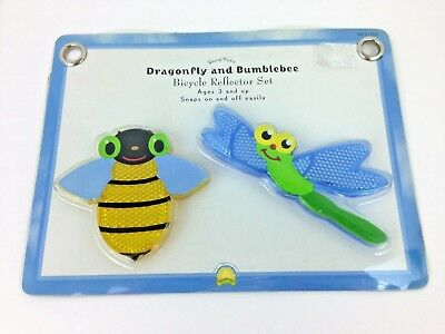 Childrens Kids Child Bike Accessory ez Snap on Reflector Set Bumblebee Dragonfly Dragonfly Light Set