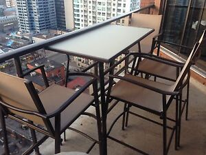 Bar Height Patio Table and Four Chairs