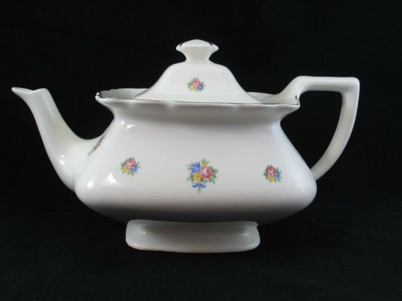 Lido TEAPOT W.S. George Square with Pink and Yellow Flowers USA