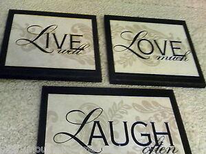 Live Love Laugh Plaques 3pc Wall Decor Signs fancy bed & bath pictures black