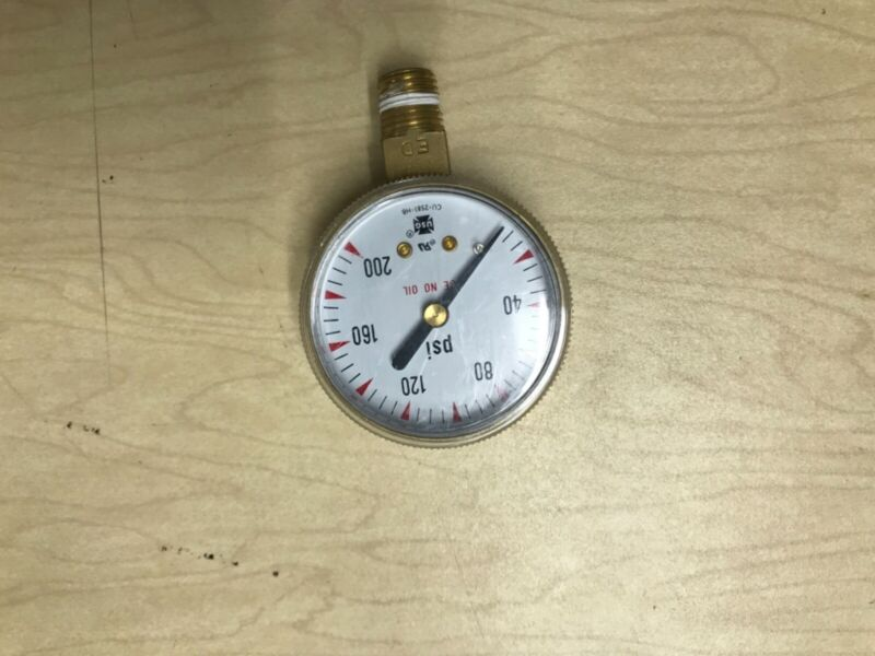 """Pressure gauge, removed from new regulators made by Ametek 0 to 200 psi. 2"""" face"""