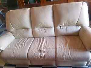 Cream Leather 3 seater and 2 seater Revesby Bankstown Area Preview
