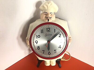 Vintage Sessions Chef Wall Clock Model 4W Cat.No.487W Working - RED Rim