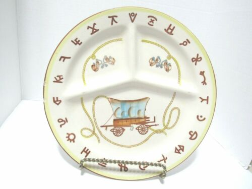 Fred Roberts Western Divided Dinner Plate, this one is the covered wagon.Issues