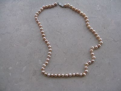 Vintage Pink  Knotted Fresh Water Pearl Necklace with Solid 14K White Filigree C