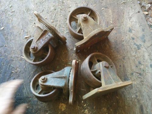 Cast Iron Industrial Casters Wheels Set of 4 Buffalo NY