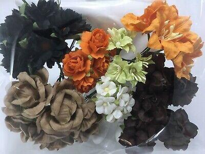 40 Assortment Paper Flower Wedding bouquet Scrapbook TH/Halloween-B - Halloween Wedding Bouquet